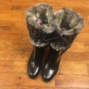 Stuart Weitzman Patent Leather Faux Fur Rain Boots